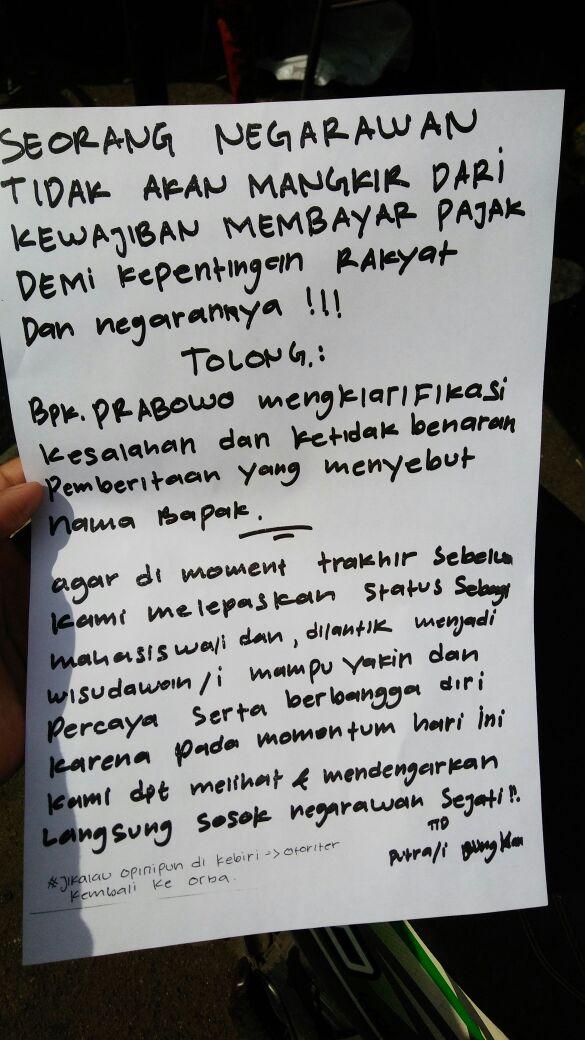 Tulisan Mahasiswa UBK untuk Prabowo